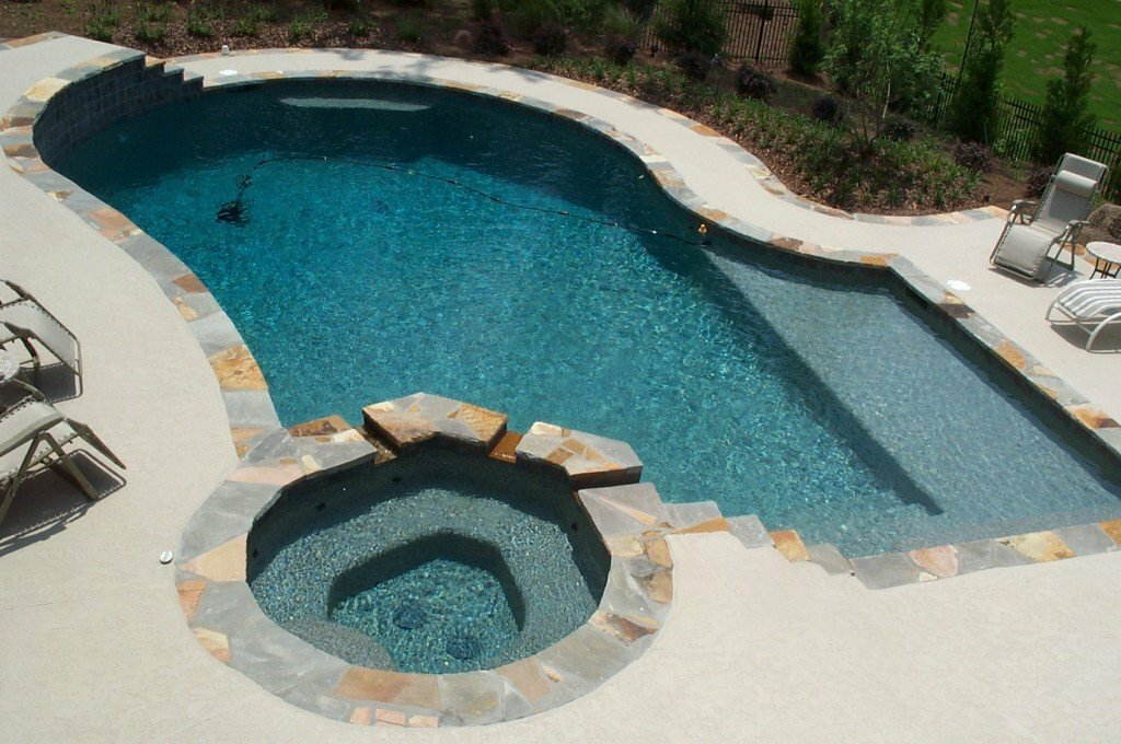Concrete Freeform Pool with Attached Spa