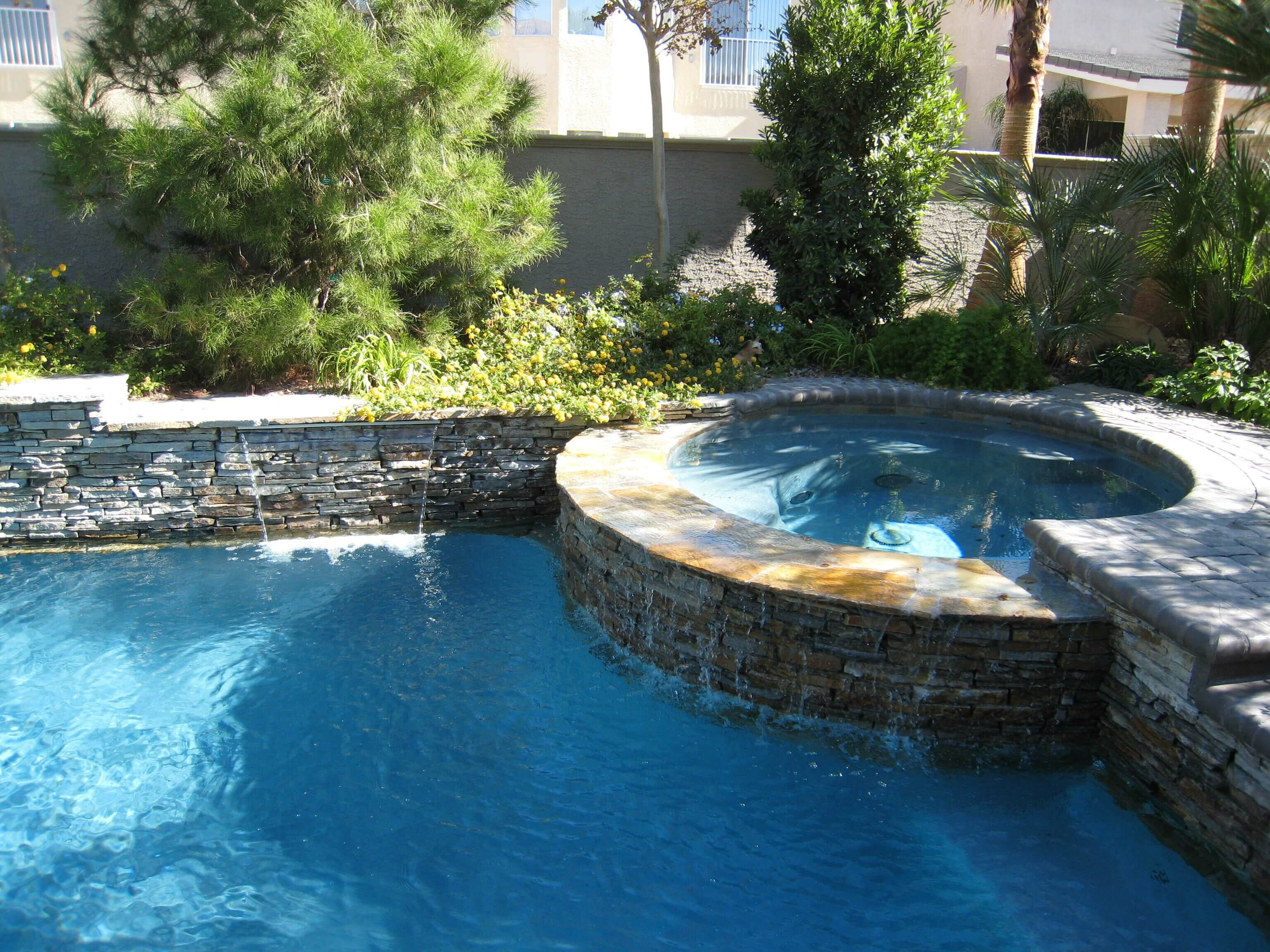 Pool and raised spa